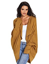 cheap -Women's Daily Street chic Solid Colored Long Sleeve Loose Long Cardigan, Shirt Collar Fall / Winter Cotton Red / Yellow / Army Green M / L / XL / High Waist