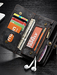 cheap -CaseMe Case For Apple iPhone XR Wallet / Card Holder / Shockproof Full Body Cases Solid Colored Hard PU Leather