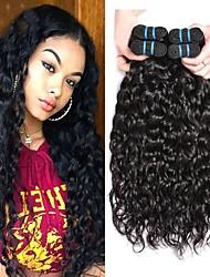 Недорогие -4 Связки Бразильские волосы Волнистые Не подвергавшиеся окрашиванию 200 g Удлинитель Накладки из натуральных волос 8-28 дюймовый Естественный цвет Ткет человеческих волос Для темнокожих женщин 100