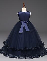 abordables -Cinderella Princesse Robe Costume de Soirée Fille Enfant Organza Costume Bleu marine / Rouge Bordeaux Vintage Cosplay Sans Manches