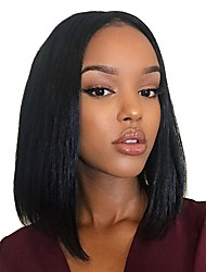 cheap -100% Virgin Remy Human Hair Glueless Full Lace Wig Straight Yaki Wig 130% Density with Baby Hair Natural Hairline African American Wig 100% Hand Tied Women's Short Medium Length Long Lace Wig