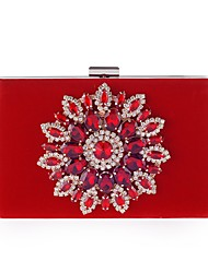 cheap -Women's Crystals / Glitter Polyester / Velvet Evening Bag Rhinestone Crystal Evening Bags Solid Color Black / Red / Fall & Winter