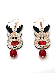 cheap -Women's Drop Earrings Earrings Vintage Style Elk Deer Ball Ladies Vintage Cartoon Fashion Earrings Jewelry Red For Christmas Gift 1 Pair