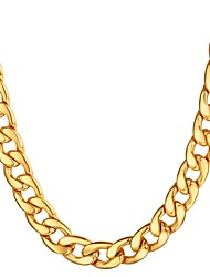 cheap -Men's Chain Necklace Cuban Link Mariner Chain Hyperbole Fashion Hip Hop Stainless Steel Black Gold Silver 55 cm Necklace Jewelry 1pc For Gift Daily