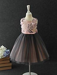 cheap -A-Line / Princess Midi / Medium Length Flower Girl Dress - Chiffon / Organza / Tulle Sleeveless Jewel Neck with Appliques / Pattern / Print / Tiered
