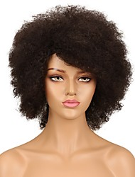 cheap -Remy Human Hair Full Lace Lace Front Wig Asymmetrical Rihanna style Brazilian Hair Afro Curly Black Wig 130% 150% Density Fashionable Design Women Natural Best Quality Hot Sale Women's Short Human