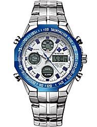 Недорогие -WWOOR Муж. Спортивные часы электронные часы Японский Японский кварц Нержавеющая сталь Серебристый металл / Золотистый 30 m Защита от влаги Календарь Хронометр Аналого-цифровые Мода -