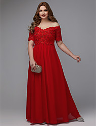 cheap -A-Line Plus Size Red Engagement Formal Evening Dress Off Shoulder Short Sleeve Floor Length Chiffon with Beading Appliques 2020