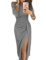 cheap -Women's Sheath Dress Midi Dress Blushing Pink Dusty Rose Gray Long Sleeve Solid Color Split Ruched Fall Spring Round Neck Party Casual Sexy 2021 S M L XL / Asymmetrical