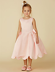 cheap -Ball Gown Tea Length Pageant Flower Girl Dresses - Satin Sleeveless Jewel Neck with Bow(s)
