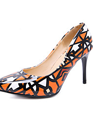 cheap -Women's Heels Stiletto Heel PU Fall Orange / Blue / Daily