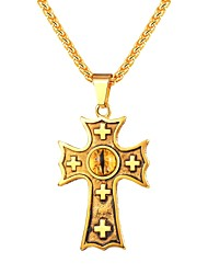 cheap -Men's Pendant Necklace Classic Cross Eyes Classic Fashion Stainless Steel Black Gold Silver 55 cm Necklace Jewelry 1pc For Gift Daily