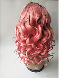 cheap -Virgin Human Hair Remy Human Hair Full Lace Wig Middle Part Side Part With Ponytail Kardashian style Brazilian Hair Loose Wave Pink Wig 150% Density with Baby Hair Soft Natural Natural Hairline