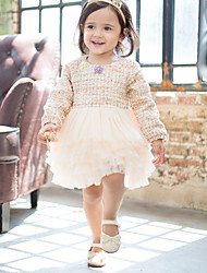 cheap -Baby Girls' Active Solid Colored Long Sleeve Knee-length Dress Beige / Toddler
