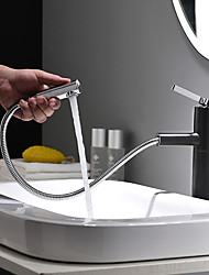 cheap -Bathroom Sink Faucet - Pullout Spray / Rotatable / New Design Painted Finishes / Black Deck Mounted Single Handle One HoleBath Taps