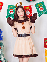 cheap -Santa Clothes Women's Adults Adults' Halloween Christmas Christmas Halloween Carnival Festival / Holiday Polyster Outfits Beige Solid Colored Christmas