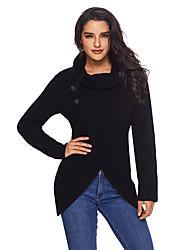 abordables -Femme Quotidien Chic de Rue Couleur Pleine Manches Longues Normal Cardigan, Col Roulé Automne / Hiver Coton Noir / Gris / Kaki L / XL / XXL / Taille haute