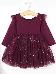 cheap -Toddler Girls' Basic Sweet Solid Colored Long Sleeve Dress Wine