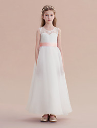 cheap -A-Line Long Length Wedding / First Communion / Pageant Flower Girl Dresses - Lace / Organza / Satin Sleeveless Jewel Neck with Lace