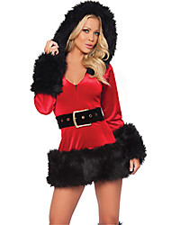 cheap -Uniforms Costume Christmas Dress Santa Clothes Adults Highschool Women's Dresses Christmas Christmas Halloween Carnival Festival / Holiday Spandex Polyester Red Carnival Costumes Solid Colored Sexy