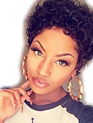 cheap -Remy Human Hair Full Lace Lace Front Wig Asymmetrical Rihanna style Brazilian Hair Curly Deep Curly Natural Black Wig 130% 150% Density Soft Classic Women Best Quality curling Women's Short Human