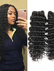 cheap -3 Bundles Indian Hair Deep Wave Human Hair Unprocessed Human Hair Natural Color Hair Weaves / Hair Bulk Hair Care Extension 8-28 inch Natural Color Human Hair Weaves Newborn Smooth Easy dressing / 8A