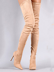 cheap -Women's Boots Over-The-Knee Boots Stiletto Heel Pointed Toe Faux Fur Thigh-high Boots Sweet Spring &  Fall Black / Almond / Purple / Party & Evening