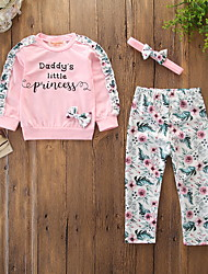 cheap -Baby Girls' Active / Basic Daily / Holiday Floral / Print Bow / Print Long Sleeve Regular Cotton Clothing Set Blushing Pink / Toddler