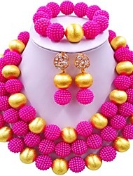 cheap -Women's Beaded Necklace Layered Ladies Fashion African Earrings Jewelry Blue / Pink / Hot Pink For Wedding