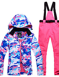 cheap -ARCTIC QUEEN Women's Ski Jacket with Pants Ski / Snowboard Winter Sports Thermal / Warm Waterproof Windproof Polyester Clothing Suit Ski Wear / Camo / Camouflage