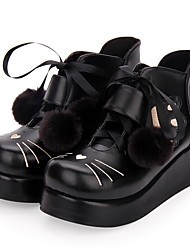 cheap -Women's Lolita Shoes Punk Wedge Heel Shoes Embroidered 5 cm Black PU Leather / Polyurethane Leather Halloween Costumes