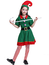 cheap -Cosplay Costume Santa Clothes Kid's Girls' Christmas Christmas Carnival Children's Day Festival / Holiday Plush Fabric Terylene Green Carnival Costumes Holiday / Belt / Socks / More Accessories / Hat
