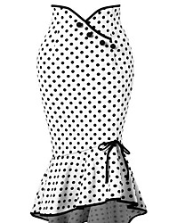 cheap -Women's Party / Work Street chic / Sophisticated Bodycon / Trumpet / Mermaid Skirts - Polka Dot Black & White High Waist Winter White L XL XXL / Sexy