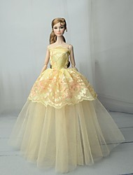cheap -Doll Dress Dresses For Barbiedoll Lace Light Yellow Tulle Lace Cotton Blend Dress For Girl's Doll Toy