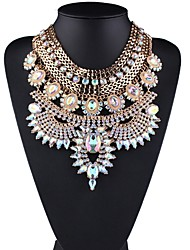 cheap -Women's Collar Necklace Hollow Out Ladies Stylish Classic Hyperbole Rhinestone Imitation Diamond Alloy Gold 44+6.5 cm Necklace Jewelry 1pc For Daily