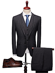 cheap -Solid Colored / Striped Standard Fit Spandex / Polyster Suit - Notch Single Breasted One-button / Suits