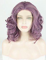 cheap -Synthetic Lace Front Wig Body Wave Deep Curly Free Part Lace Front Wig Short Purple Synthetic Hair 14 inch Women's Fashionable Design Soft Adjustable Purple / Heat Resistant / Heat Resistant