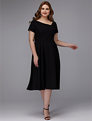 cheap -A-Line Plus Size Black Wedding Guest Cocktail Party Dress V Neck Short Sleeve Tea Length Chiffon with Pleats 2020