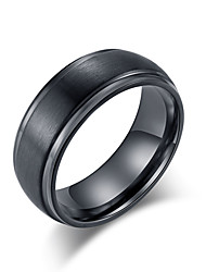 cheap -Men's Band Ring Ring 1pc Black Silver Tungsten Steel Steel Stainless Stylish Basic Trendy Wedding Evening Party Jewelry Classic Cool