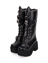 cheap -Women's Lolita Shoes Boots Punk Creepers Shoes Solid Colored 8 cm Black PU Leather / Polyurethane Leather Halloween Costumes
