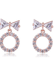 cheap -Women's White Cubic Zirconia Stud Earrings Hollow Bowknot Ladies Sweet Fashion Elegant Earrings Jewelry Gold / Silver / Rose Gold For Party Date 1 Pair