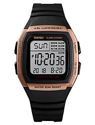 Недорогие -SKMEI Муж. Спортивные часы Армейские часы электронные часы Цифровой Стеганная ПУ кожа Черный 50 m Будильник Календарь Секундомер Цифровой На каждый день Мода - Зеленый Синий Розовое золото / Один год