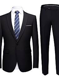 cheap -Tuxedos Tailored Fit Notch Single Breasted One-button Polyester Solid Colored