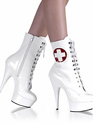 cheap -Women's Boots Sexy Boots Stiletto Heel / Platform Rivet Patent Leather Fashion Boots / Light Up Shoes / Club Shoes Spring / Fall / Winter White / Wedding / Party & Evening