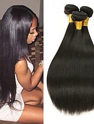 cheap -3 Bundles Malaysian Hair Straight Human Hair Unprocessed Human Hair Natural Color Hair Weaves / Hair Bulk Hair Care Extension 8-28 inch Natural Color Human Hair Weaves Simple Designs Cool Human Hair