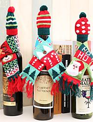 cheap -3Pcs Christmas Wine Bottle Decoration Supplies Knit Scarf Hat Set Bottle Bags