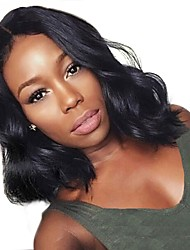 cheap -Synthetic Wig Synthetic Lace Front Wig Wavy Body Wave Layered Haircut Lace Front Wig Short Black#1B Dark Brown Synthetic Hair 12 inch Women's Soft Middle Part Sew in Natural Hairline Black