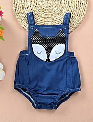 cheap -Baby Girls' Basic Daily Print Denim Sleeveless Cotton Romper Light Blue / Toddler