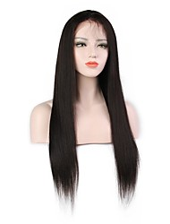 cheap -Virgin Human Hair Remy Human Hair Full Lace Wig Layered Haircut Middle Part Side Part style Brazilian Hair Yaki Straight Natural Wig 130% Density Soft Natural Natural Hairline African American Wig