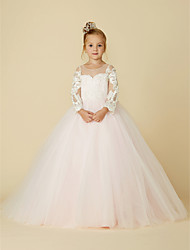 cheap -Ball Gown Court Train Wedding / Party / Pageant Flower Girl Dresses - Lace / Tulle Long Sleeve Illusion Neck with Bows / Bow(s) / Buttons